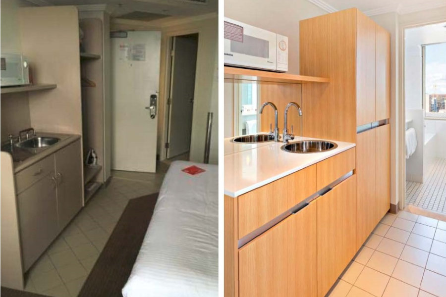 Travelodge Bankstown Room Refurbishment before and after